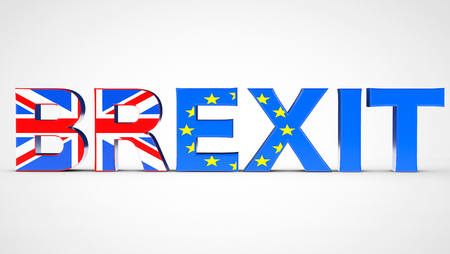 referendum: Brexit Referendum Concept Sign as UK and EU Flags on a white background. 3d Rendering