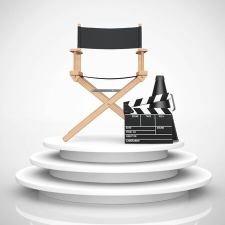famous actor: Director Chair, Movie Clapper and Megaphone over Round Stage on a white background. 3d Rendering Stock Photo