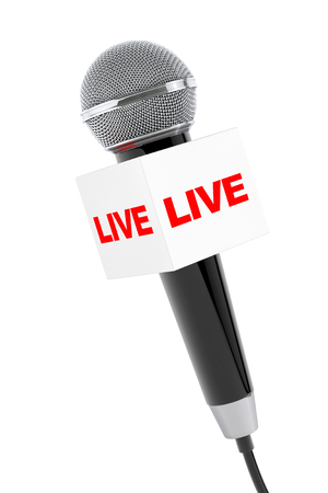 record breaking: Microphone with Live Box Sign on a white background. 3d Rendering