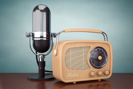 Old Style Photo. Retro Radio and Vintage Microphone on the wooden table. 3d Rendering Stock Photo