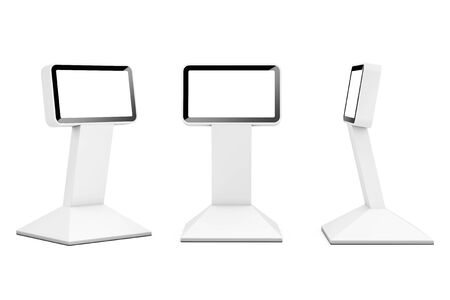 space television: Information LCD Display Stands on a white background. 3d Rendering
