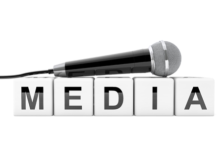 record breaking: Microphone over Media Cube Sign on a white background. 3d Rendering Stock Photo