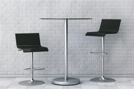 stools: Black Bar Vintage Stools with Table in front of Brick Wall. 3d Rendering