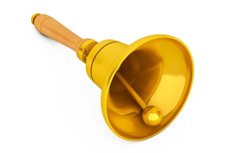 recess: Vintage Golden School Bell on a white background. 3d Rendering