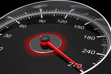 kilometre: Closeup Car Speedometer on a black background. 3d Rendering Stock Photo