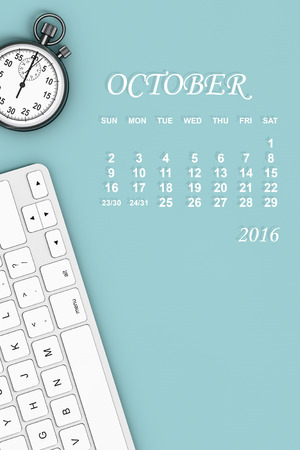 calendar october: 2016 year calendar. October calendar with Stopwatch and Keyboard. 3d Rendering