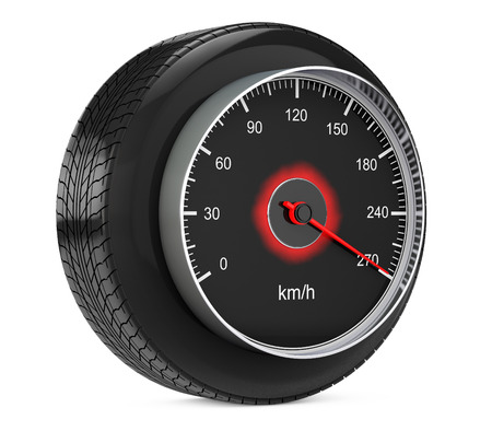 kilometre: Speedometer in Car Wheel Tyre on a white background. 3d Rendering