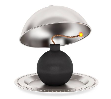 terrified: Bomb Inside Silver Restaurant Cloche on a white background. 3d Rendering