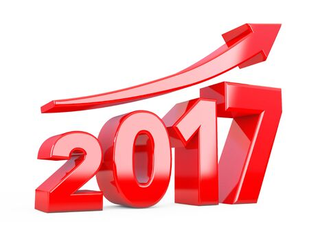 year increase: Progress Arrow in New 2017 Year Sign on a white background. 3d Rendering