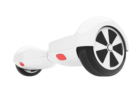 White Self Balancing Electric Scooter on a white background. 3d Rendering Stock Photo