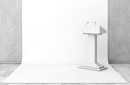 rostrum: Tribune Rostrum Stand with Microphones in Studio Room extreme closeup. 3d Rendering