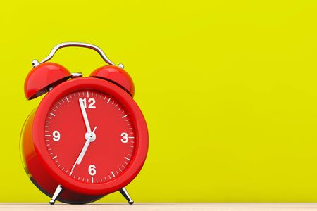 checking: Red Vintage Alarm Clock in front of yellow background. 3d Rendering