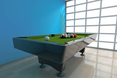 cue: Billiard Table with Balls Set and Cue in front of blue wall. 3d Rendering