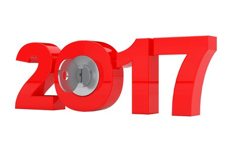 New 2017 Year Sign with Key on a white background. 3d Rendering