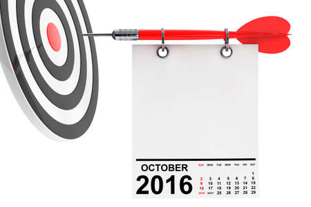 calendar october: Calendar October 2016 on blank note paper with free space for your text with target. 3d Rendering Stock Photo