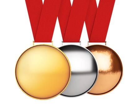 bronze medal: Medals Set. Gold, Silver and Bronze Medal on a white background. 3d Rendering