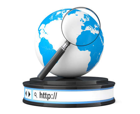 Earth Globe with Magnifier over Browser Address Bar as Round Platform Pedestal on a white background. 3d Rendering