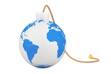 Earth Globe as Bomb with Wick on a white background. 3d Rendering