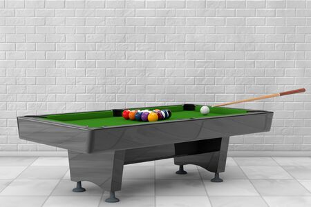 cue: Billiard Table with Balls Set and Cue in front of brick wall. 3d Rendering Stock Photo