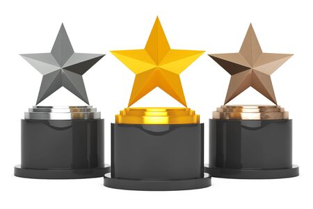 Gold, Silver and Bronze Star Awards on a white background. 3d Rendering
