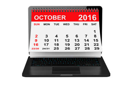calendar october: 2016 year calendar. October calendar over laptop screen on a white background. 3d rendering