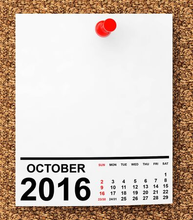 calendar october: Calendar October 2016 on blank note paper with free space for your text.3d Rendering