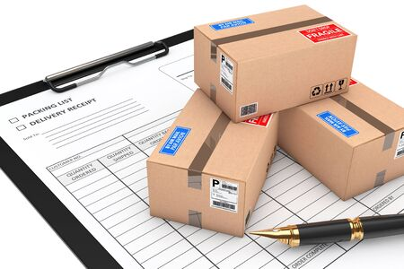 merchandize: Cardboard Parcel Package over Delivery Note on a white background. 3d Rendering