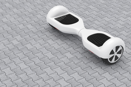tiles floor: White Self Balancing Electric Scooter on a street tiles floor. 3d Rendering Stock Photo