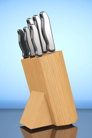 large group of objects: Professional Kitchen Knives Set in Wooden Box on a blue background. 3d Rendering