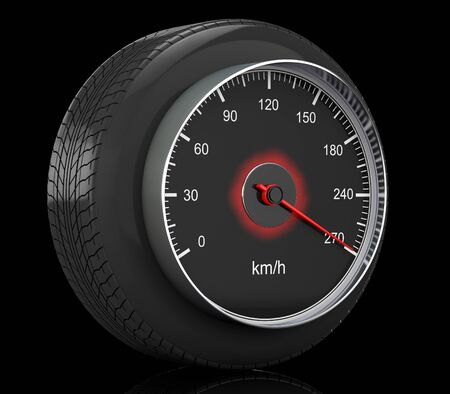 kilometre: Speedometer in Car Wheel Tyre on a black background. 3d Rendering