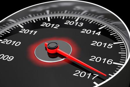 Conceptual 2017 New Year Speedometer on a black background. 3d Rendering Stockfoto