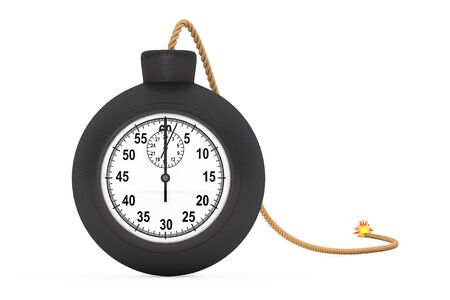 explosive watch: Stopwatch in Black Bomb with Wick on a white background. 3d Rendering