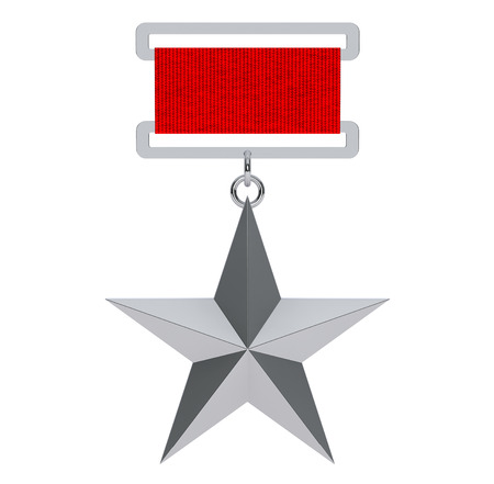 soviet union: Hero of the Soviet Union Silver Star Award on a white background. 3d Rendering