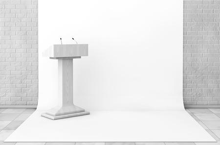 tribune: Tribune Rostrum Stand with Microphones in Studio Room extreme closeup. 3d Rendering