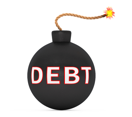 stress ball: Black Bomb with Wick and Debt Sign on a white background. 3d Rendering Stock Photo