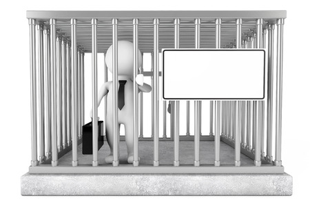 punished: Businessman in Metal Cage with Blank Sign Plate on a white background. 3d Rendering