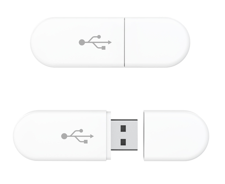 USB Flash Memory Drives on a white background. 3d Rendering
