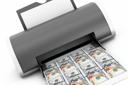 counterfeit: Desktop Home Printer Printed Money on a white background. 3d Rendering