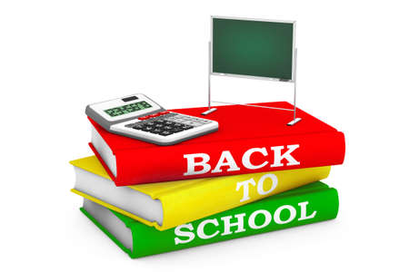 school years: Calculator with Blackboard over Books with Back to School sign on a white background. 3d Rendering Stock Photo