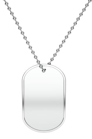 dogtag: Silver Army Identity Tag on a white background. 3d Rendering Stock Photo