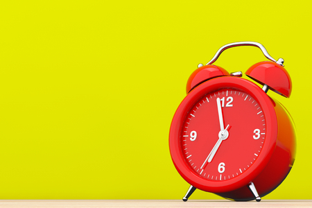Red Vintage Alarm Clock in front of yellow background. 3d Rendering