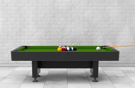 pocket billiards: Billiard Table with Balls Set and Cue in front of brick wall. 3d Rendering Stock Photo