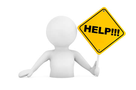 person falling: 3d Person Falling in Problems with Help Sign on a white background. 3d Rendering