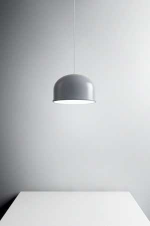 Metal Lamp over Table extreme closeup. 3d Rendering Stock Photo