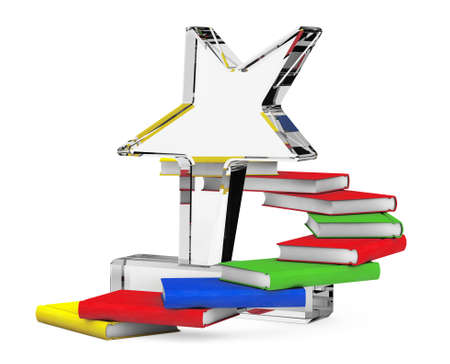 Books as Belt Round the Star Trophy on a white background. 3d Rendering Stock Photo