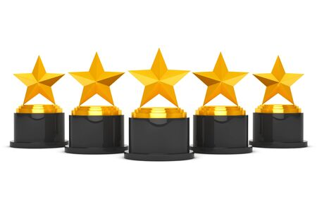five star: Five Gold Star Awards on a white background. 3d Rendering