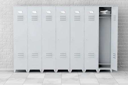 lockers: Grey Metal Lockers in front of brick wall. 3d Rendering Stock Photo