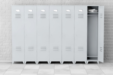 Grey Metal Lockers in front of brick wall. 3d Rendering Archivio Fotografico
