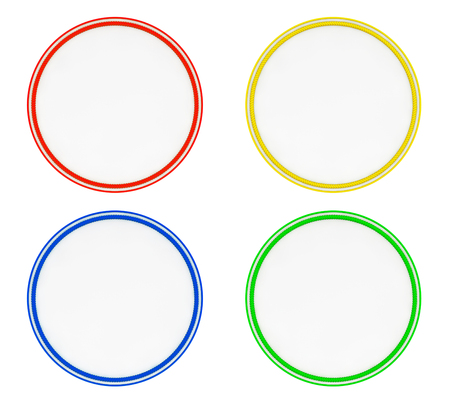 white patches: Blank Multicolour Uniform Patches on a white background. 3d Rendering