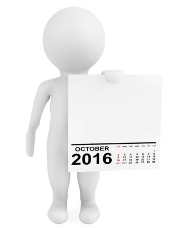 calendar october: Character holding calendar October 2016 on a white background. 3d Rendering